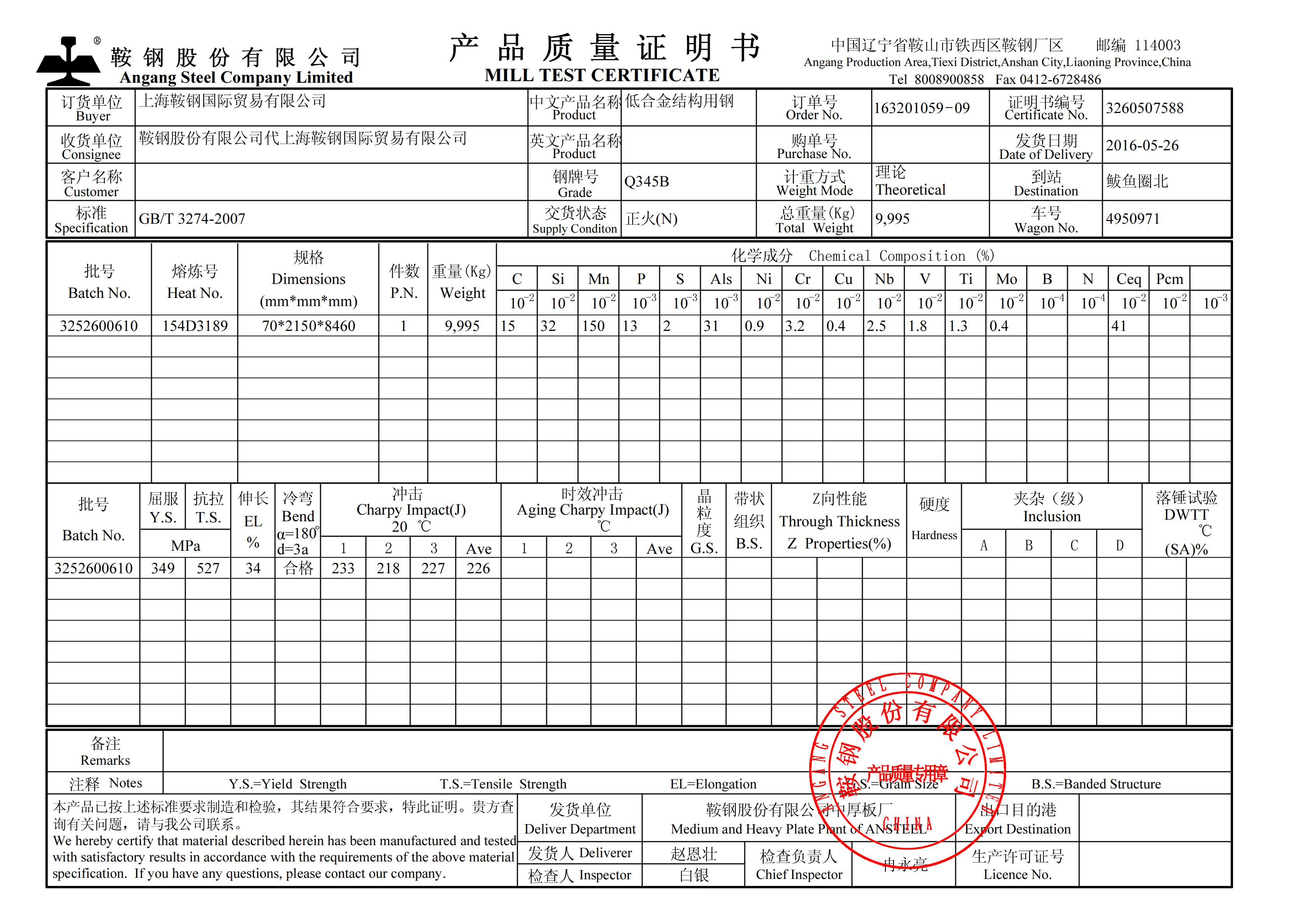 high-strength-low alloy-structural-steel mill-test-certificate